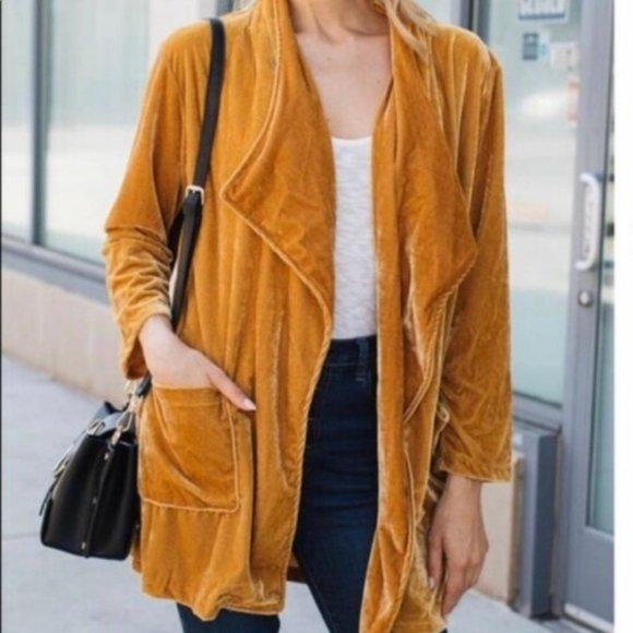 Amaryllis Golden Yellow Shimmery Velvet Cardigan